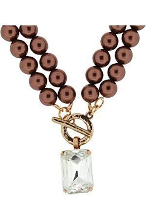 Jean Pierre Damen-Collier Halskette mit Imitationsperlen Messing Kristall weiß Baguetteschliff Synthetische Perle 50 cm - HEJN1398 RG BRW