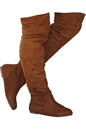 ShoBeautiful Damen Overknees - Damen Overknee Slouchy Flache Stiefel Kniehoch Niedrig Absatz Schuhe Oberschenkel Hohe Stiefel Stiefel, (camel)
