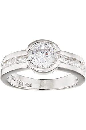 Renato Fellini Damen-Ring aus 925 mit rhodiniert transparent Brillantschliff Gr. 56 (17.8) - HEJR-8897 56
