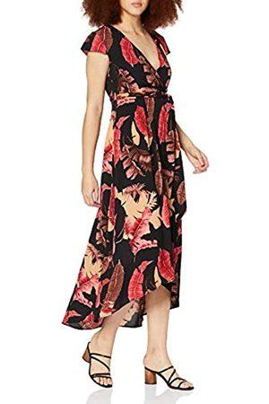 Mela Damen London-Palm Leaf Printed Dipped Hem Maxi Dress Lssiges Kleid