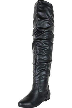 Cambridge Select Damen Overknees - Damen Overknee-Stiefel mit geschlossener Zehenpartie, ( (Black Pu))