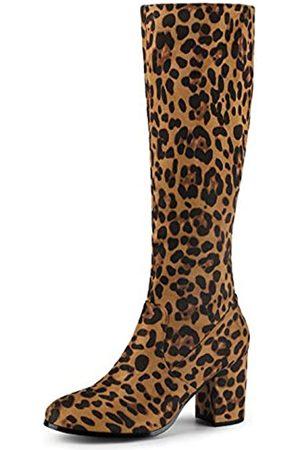 Allegra K Damen Kniehohe Stiefel mit seitlichem Reißverschluss und klobigem Absatz, (leopard)