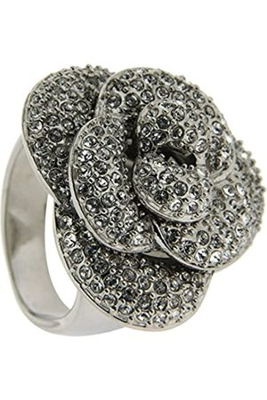 Jean Pierre Damen-Ring Messing rhodiniert Glas weiß Rundschliff Gr. 53 (16.9) - HEWR1897 RH 17