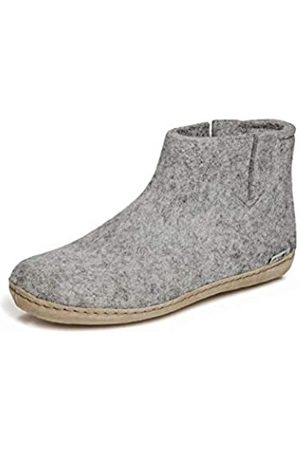 glerups dk Damen Hausschuhe - G Ankle Shoe Unisex - Erwachsene Filz-Stiefel, Damen,Herren Huettenschuhe, weibliche Freizeit Pantoffel Slipper Puschen,Grey