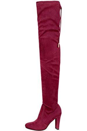 Nature Breeze Damen Overknees - Damen-Springerstiefel, dehnbar, mit Zugschnur, Chunk-Absatz, Rot (Burgunderrotes Wildleder)