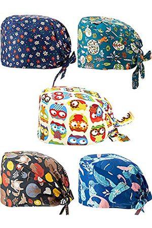 SATINIOR 5 Stücke Bedruckte Sanft Kappen Bouffant Schrubben Turban Kappe Baumwolle Verstellbarer Schrubben Hut mit Schweißband für Frauen Männer