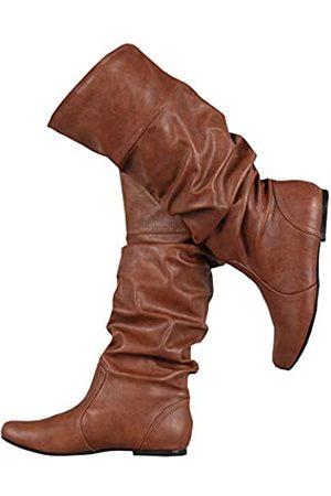Syktkmx Damen Winterstiefel kniehoch Fall breite Wade flache Manschetten Schuhe, (1- )