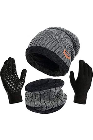 Affei Wintermütze Schal Handschuhe Set für Frauen Mädchen Strickmützen Schal Skullies Beanies Mütze Kappe + Touchscreen Handschuhe - - Einheitsgröße
