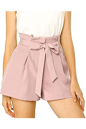Allegra K Damen A Linie High Waist Bindegürtel Paperbag Kurze Hose Shorts XS