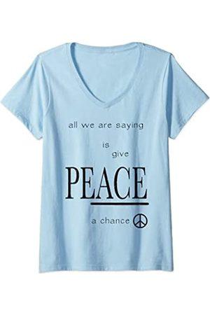 John Lennon Damen - Peace T-Shirt mit V-Ausschnitt