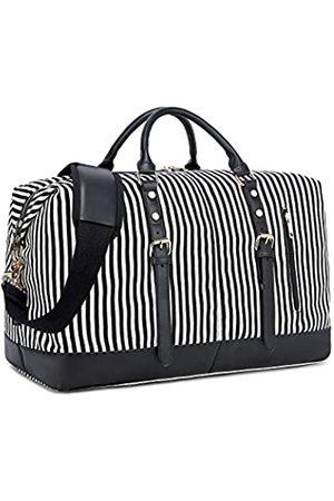 CAMTOP Weekend Reisetasche Damen Frauen Duffle Tote Taschen PU Leder Trim Canvas Übernachtung Tasche Gepäck (Schwarz) - 6049