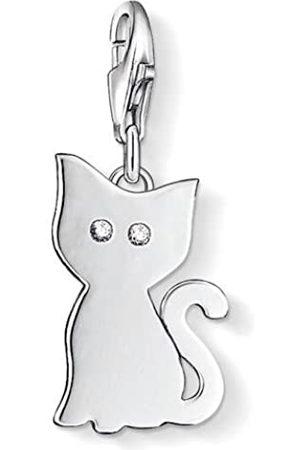 Thomas Sabo Damen-Charm-Anhänger Katze Charm Club 925 Sterling Zirkonia weiß 1014-051-14
