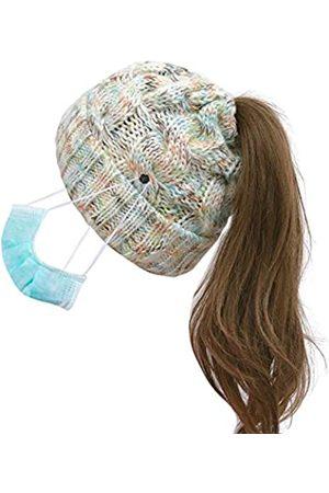 Bocianelli Damen Pferdeschwanz-Beanie mit Knopf für Maske, hoher unordentlicher Dutt, Beanie-Mütze mit Pferdeschwanz-Loch