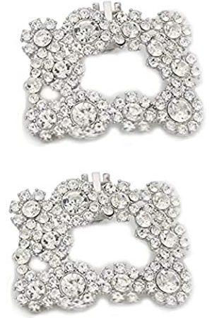 MLAVXCC 2 dekorative Hochzeits-Schuh-Clips, Blumen-Design, Strass, Dekoration, Charms, Schuhschnalle