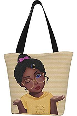 EZYES Damen Mädchen Afrikanische Mädchen Tote Reisetasche Schultertasche Handtasche für Arbeit Reisen Business Strand Shopping Schule, Schwarz (Schwarzer Gril 3)