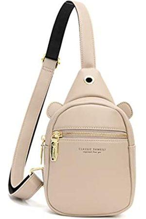 Aeeque Leder-Umhängetasche für Damen, Umhängetasche, Handytasche, Brust-Rucksack, (#2Beige)