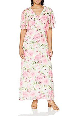 Mela Damen Delicate Rose Printed V Neck Maxi Dress Cocktailkleid