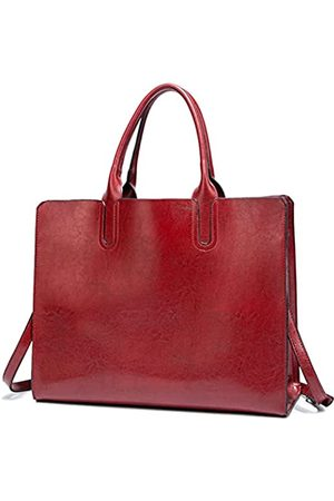 FADPRO Damen Laptop- & Aktentaschen - Large Purses and Handbags for Women PU Leather 14-Inch Laptop Tote Shoulder Bag for Work - Red
