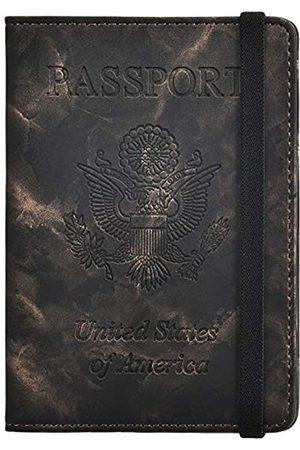 HerriaT Marmorleder-Schutzhülle für Reisepass, RFID-blockierende Reisebrieftaschen