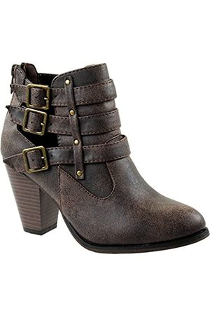 FOREVER Shoes Women's Camila-62 Short Ankle Riding Boots with Chunky Heel and Three Buckled Strap