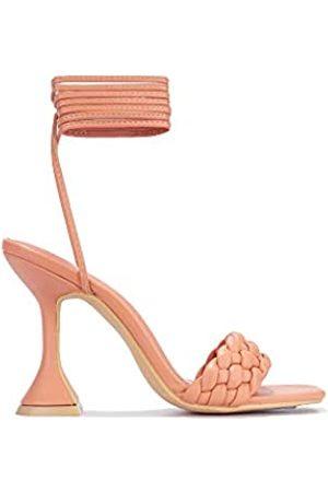 Cape Robbin Curve Sexy gewebte High Heels für Damen, quadratischer offener Zehenbereich, Pink (korallenrot)
