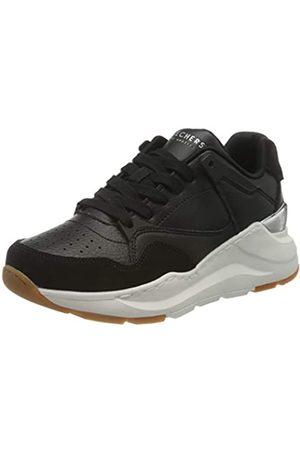 Skechers Damen Rovina Sneaker, Black Leather/Microsuede Trim