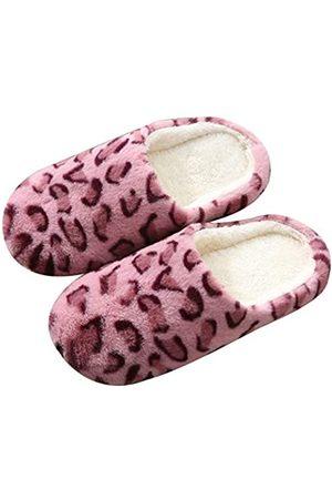 Solyinne Damen Flauschige Leopard Haus Hausschuhe Fuzzy Plüsch Fleece Hous Clog Hausschuhe Mute Hausschuhe Indoor Outdoor, Pink (rose)