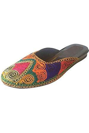 Step n Style Damen Flip Flops - Fancy Multicolor Punjabi Jutti Indische Schuhe Flip Flop Khussa Schuhe Flache Sandalen, (mehrfarbig)