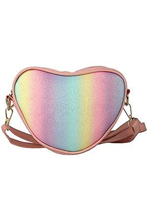 QiMing Bunte Herz-Schulter-Handtasche, PU-Herzform, Geldbörse für Kleinkinder und Kinder., Pink (rose)
