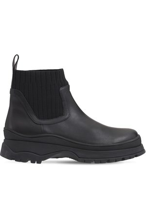 Staud 35mm Bow Leather & Knit Ankle Boots