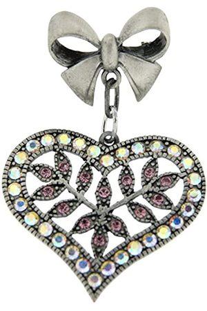 Jean Pierre Damen-Brosche Messing rhodiniert mattiert Synthetischer Diamant Mehrfarbig Rundschliff Synthetischer Diamant - HEJN9491 Herz