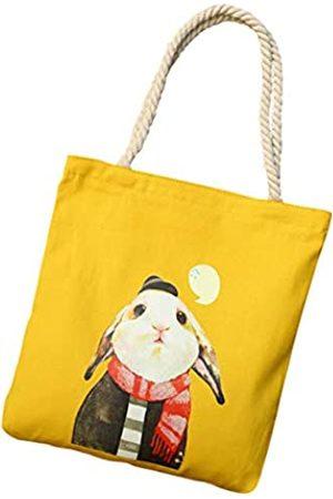 MODANA Leinen-Tragetasche mit Reißverschluss, mit Innentasche, tragbar und umweltfreundlich, Kaninchen-Gelb, 37,1 x 34