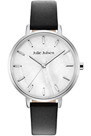 JULIE JULSEN Damen Uhren - JulieJulsenJJW40SL-1UhrDamenuhrLederarmbandEdelstahl3barAnalogSchwarz