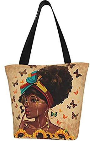 EZYES Afrikanische Amerikanische Mädchen Tote Bag Afrorau Schultertasche Schwarz Mädchen Handtasche Große Kapazitätür Arbeit Reise Einkaufen Schule, Schwarz (F)