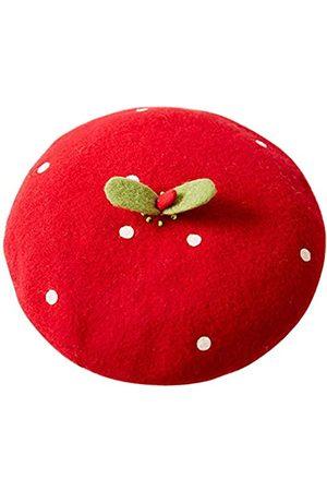 FAICCIA Handgefertigte Kawaii-Erdbeer-Baskenmütze im Vintage-Stil, für Künstler, Maler, Frauen, Wollmütze