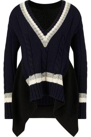 SACAI Damen Strickpullover - Woll-Pullover mit V-Ausschnitt Schwarz/Multi