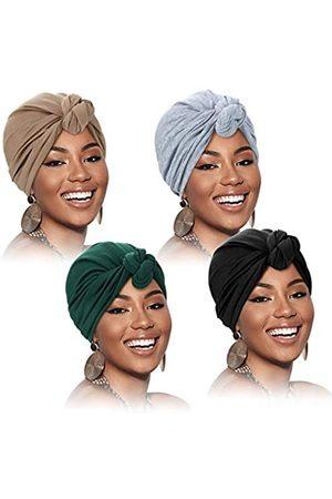 SATINIOR 4 Stück Turban für Frauen Baumwolle Soft Turban Kopfwickel Vorgebunden Knot Mütze Kappe Haarausfall Hut