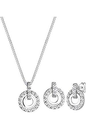 Elli Schmuckset Damen Kreis Anhänger funkelnd mit Kristallen in 925 Sterling Silber