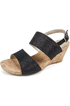 White Mountain Shoes Alexus Women's Wedge, Black/Glitter