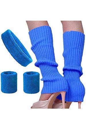 Song Qing Damen 80er Jahre Tanzen einfarbig gerippt Laufen Stirnband Armbänder Stricken Häkeln Lange Beinstulpen Set - - Einheitsgröße