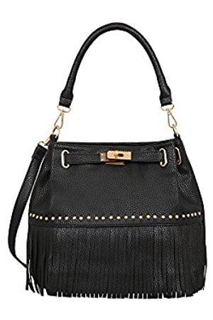 "Mellow World Women's Lorraine Bucket Bag 13"" X 5"" X 10"" Sling Tote, Black"