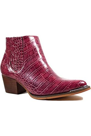 2020 IN Damen Stiefeletten Croco Print Mid Heel Metall Zehenkappe Western Booties, (burgunderfarben)