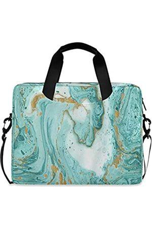 AUUXVA Ombra Laptop-Schultertasche mit grünem abstraktem Marmor-Textur-Muster, tragbare Laptop-Hülle mit Gurt für 14/15,6/16 Zoll Notebook-Computer Messenger Bag für Damen und Herren