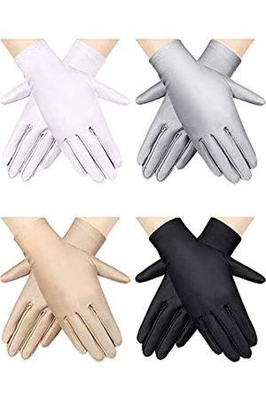 SATINIOR 4 Paar Damen Sonnenschutzhandschuhe Sonnenschutzhandschuhe UV-Schutz Handschuhe Outdoor Fahren Handschuhe ( ,