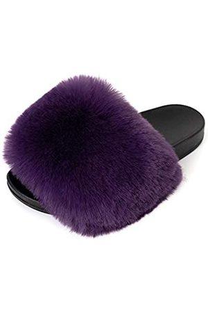 FUNKYMONKEY Damen Slides Faux Pelz Süße Flauschige Hausschuhe Komfort Flache Sandalen, (Dm-b/ )