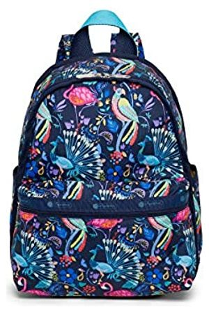 LeSportsac Coconut Grove Basic Rucksack, Stil 7812 / Farbe F651, Tropisches Paradies – Pelikane, Pfauen, Papageien & lebendige Blumen