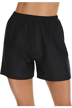Lecieldusoir Damen Badeshorts Hohe Taille Badehose Einfarbig Bikini Tankini Badeanzug Jungen Shorts - - Large