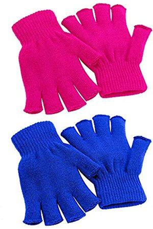 Cooraby 2 Paar Unisex Warme Halbfinger-Handschuhe Winter Fingerlose Handschuhe (L für Erwachsene, M für Jugendliche