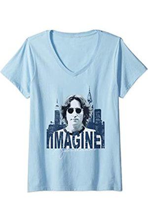John Lennon Damen - Sky T-Shirt mit V-Ausschnitt