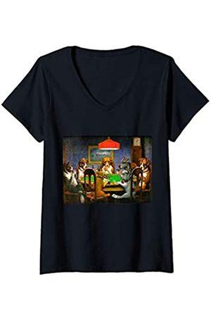 Vintage Images Damen Ein Freund in Not (Hunde spielen Poker) T-Shirt mit V-Ausschnitt